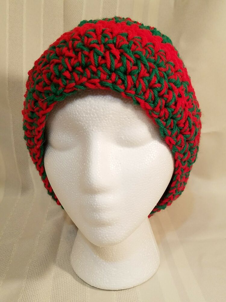 1b5281f815fea6 Handmade crochet womans loose beanie varigated green and red stripe 24