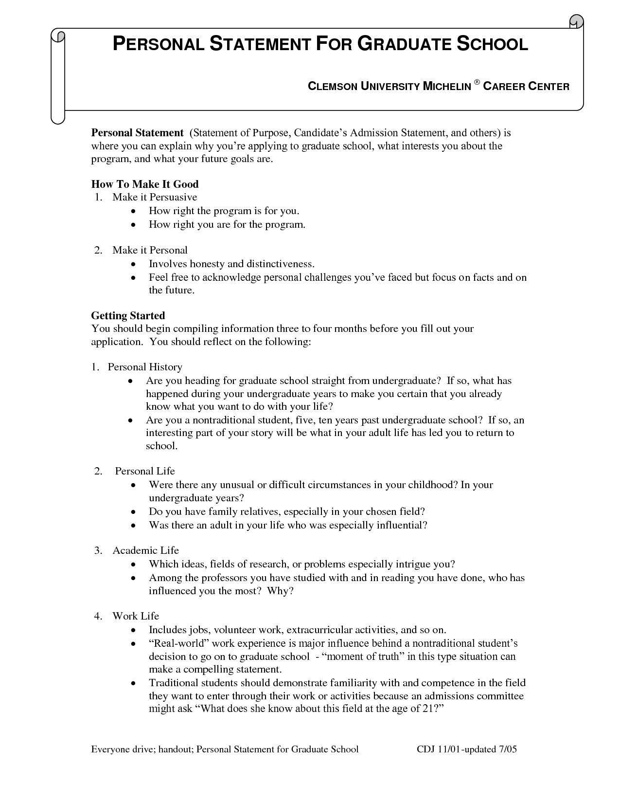 Example Of Personal Statement For Graduate School In Counseling History Essay