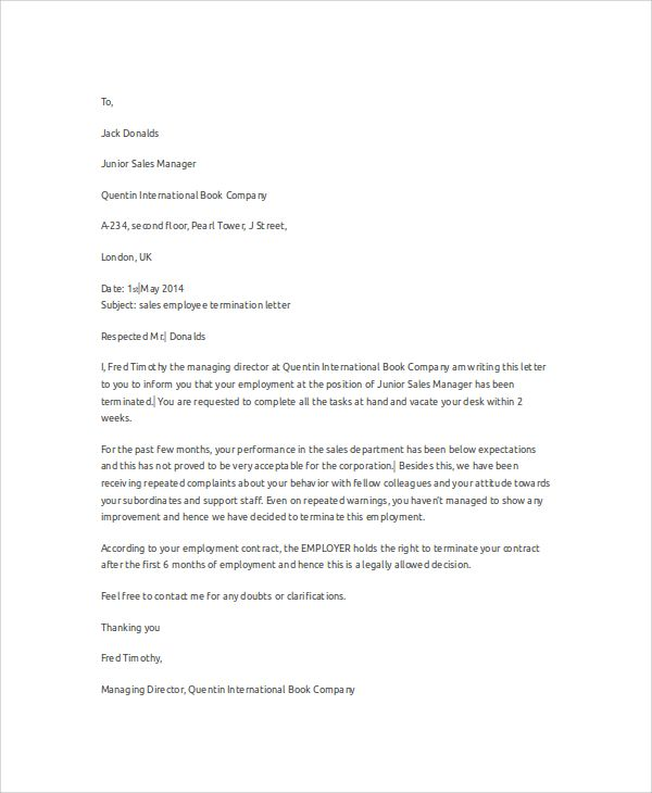 sample employee termination letter examples word pdf free Home - employee termination letter format