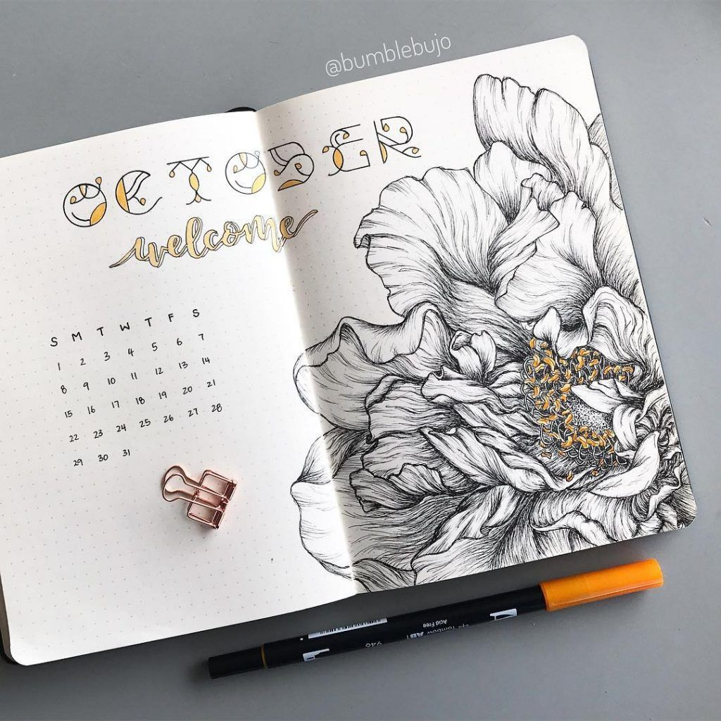 33 Awesome October bullet journal cover spreads #octoberbulletjournal
