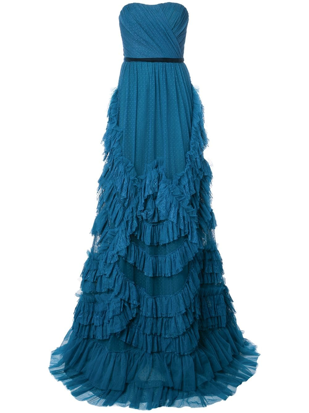 Marchesa Notte Ruffled Strapless Dress Farfetch Strapless Ruffle Dress Dresses Gowns Of Elegance [ 1334 x 1000 Pixel ]