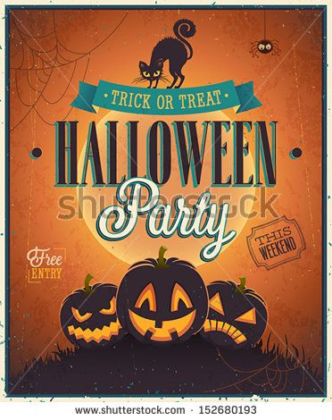 Happy Halloween Poster Vector illustration Haloween chuckwagon - halloween poster ideas