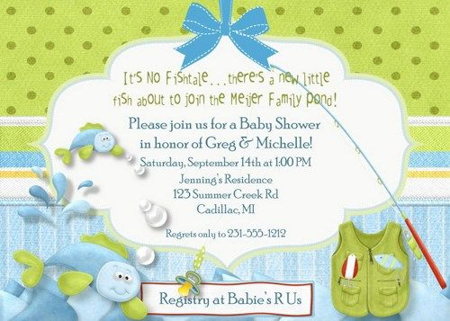 Beautiful Fishing Baby Shower Invitation, Fishing Theme Baby Shower