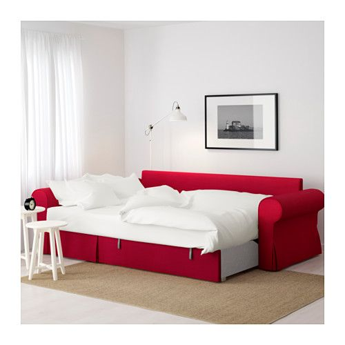 Backabro Sofa Bed With Chaise Longue Nordvalla Red Ikea In