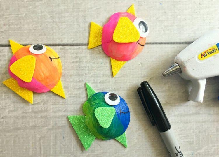 Fische Basteln Unterwasserwelt Regenbogenfarben Schaumstoff