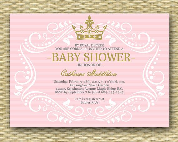 Royal Princess Baby Shower Invitation Little Invite Pink Gold Purple Any Colors Printable Or Printed