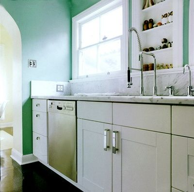 kitchen: colored walls, cool marble