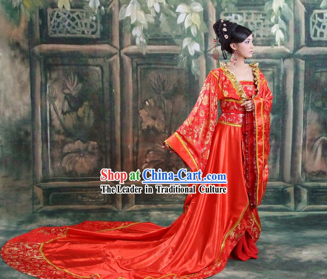 2083534ba Ancient Chinese Long Tail Wedding Dress and Hair Accessories Complete Set