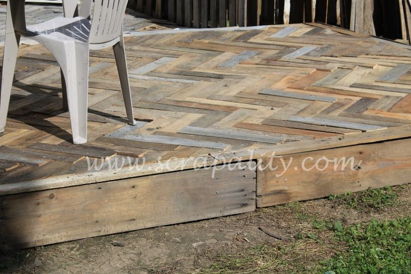 Pallet board deck gardening pinterest herringbone for Decking made from pallets