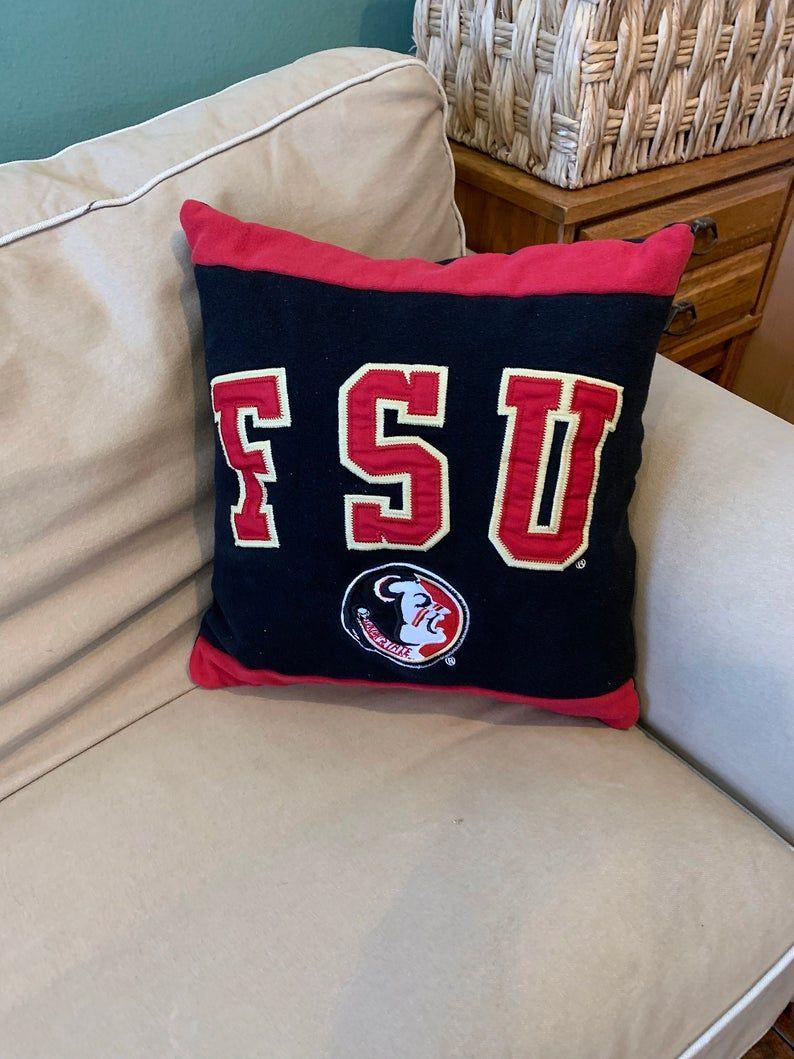 Florida State University Recycled Sweatshirt Pillow, FSU Student Gift, FSU Seminoles College Dorm Pi