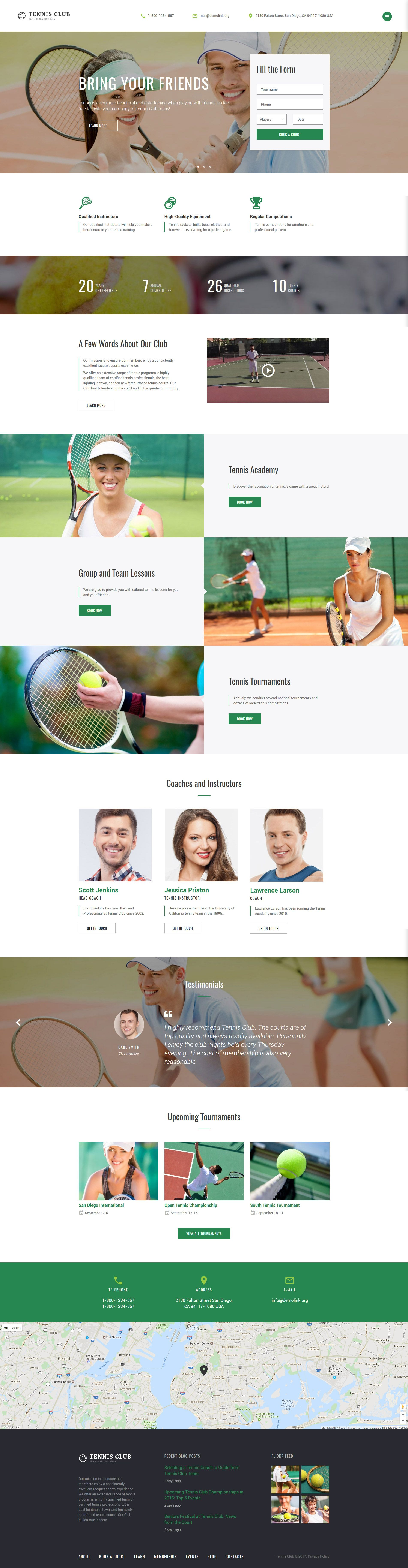 Tennis Club - Sports & Events Multipage Website Template | Template ...
