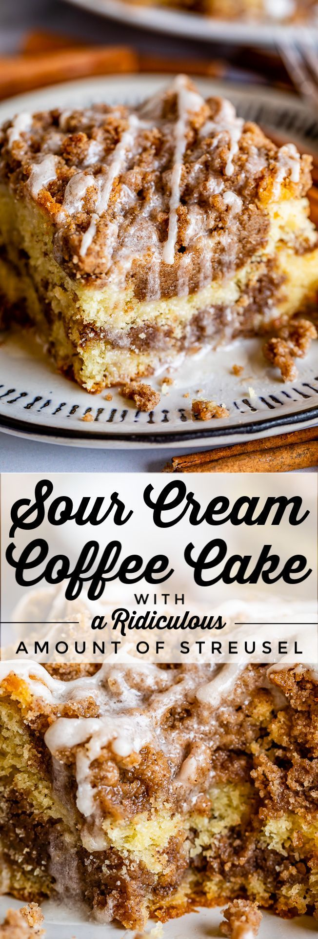 Sour Cream Coffee Cake, with a Ridiculous Amount of Streusel from The Food Charlatan. This is my FAVORITE recipe for Sour Cream Coffee Cake! My main complaint with Coffee Cake is that there is usually too much cake, not enough streusel. This recipe gives you the max amount of streusel without ruining the light fluffiness of the cake! A vanilla drizzle finishes it off!  #coffeecake #sourcream #icing #frosting #drizzle #easy #recipes #cinnamon #streusel #sourcream #crumb #crumble #moist #breakfast