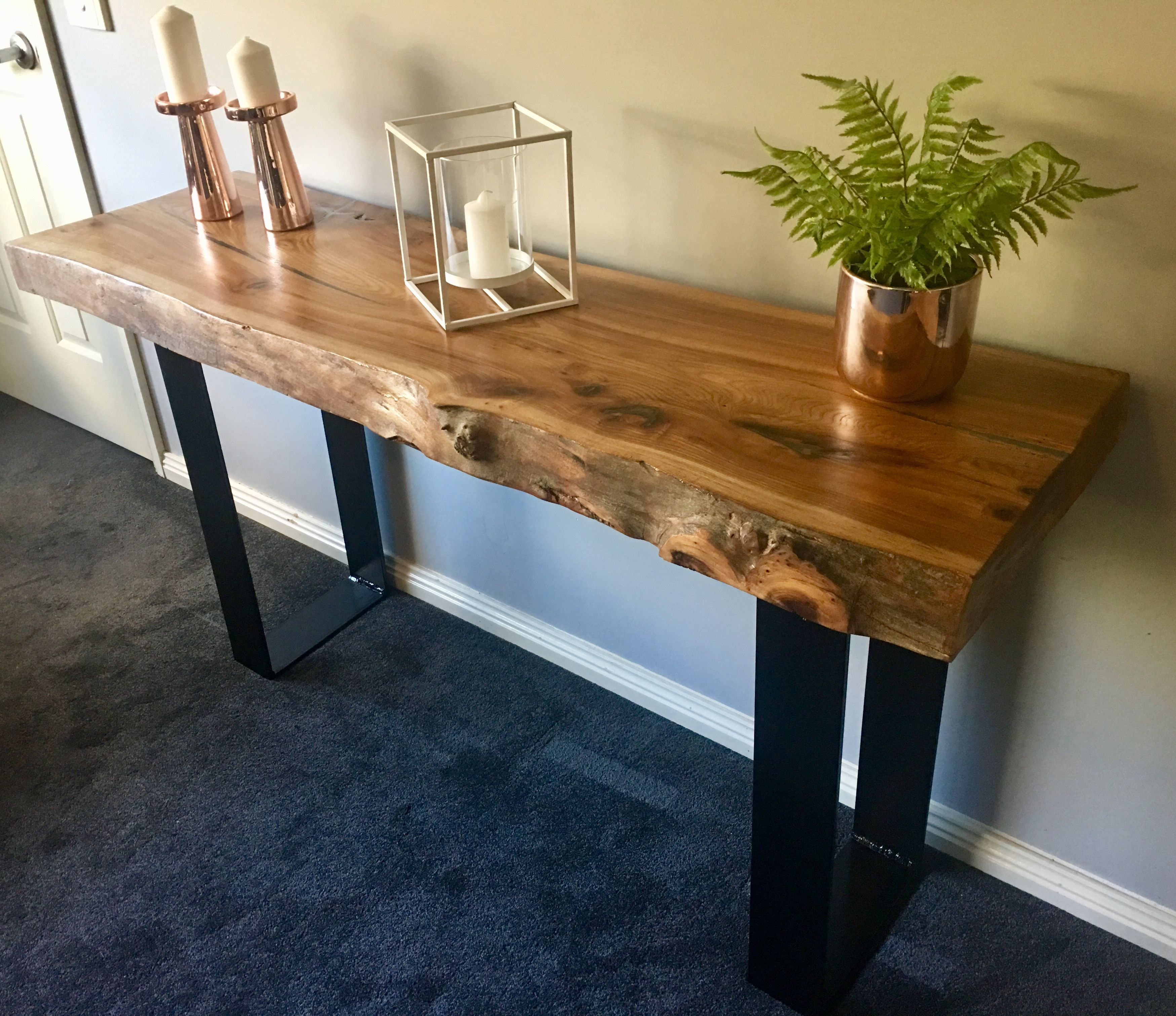 Elm Slab Hall Console With Black Flat Bar Metal Legs Home Entrance Decor Modern Wood Furniture Rustic Furniture