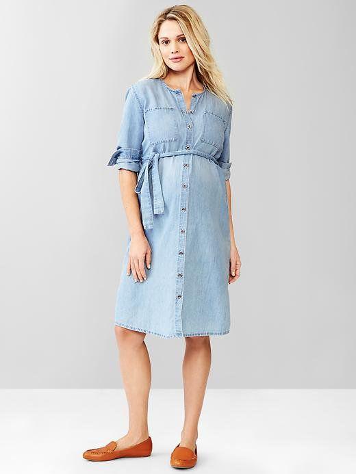 Gap Collarless Button Front Dress | Cute maternity dresses