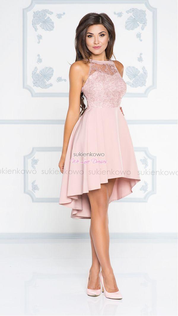 Sukienkowo Com Eliza Rozkloszowana Tiulowa Sukienka Z Dekoltem Rozowa Cute Prom Dresses Dresses Hi Low Dresses