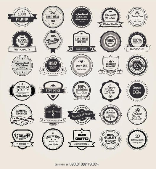 Set Of 25 Retro Vintage Badges Including Ribbons Stamps Seals Stickers And More Several Types Circles Shields And O Badge Template Retro Vintage Wax Stamp