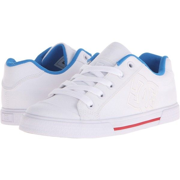 DC Chelsea TX (White/Red/Blue) Women's Skate Shoes (46 AUD) ❤ liked on Polyvore featuring shoes, multi, toe cap shoes, blue shoes, red white shoes, print shoes and blue white shoes