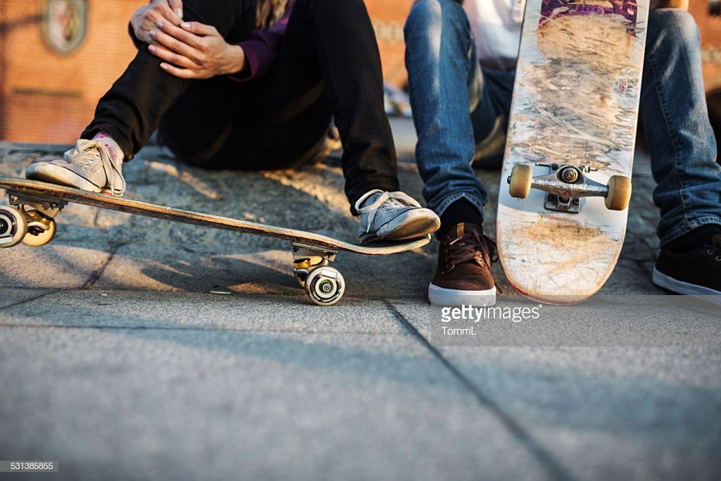 Close Up Shot Of Skater S Feet Resting On Skateboard Skateboard Stock Photos Skaters