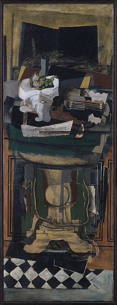 Georges Braque,Guitar and Still Life on a Guéridon, 1922, oil with sand on canvas, 190.5 x 70.5 cm.  The Metropolitan Musuem of Art, New York.