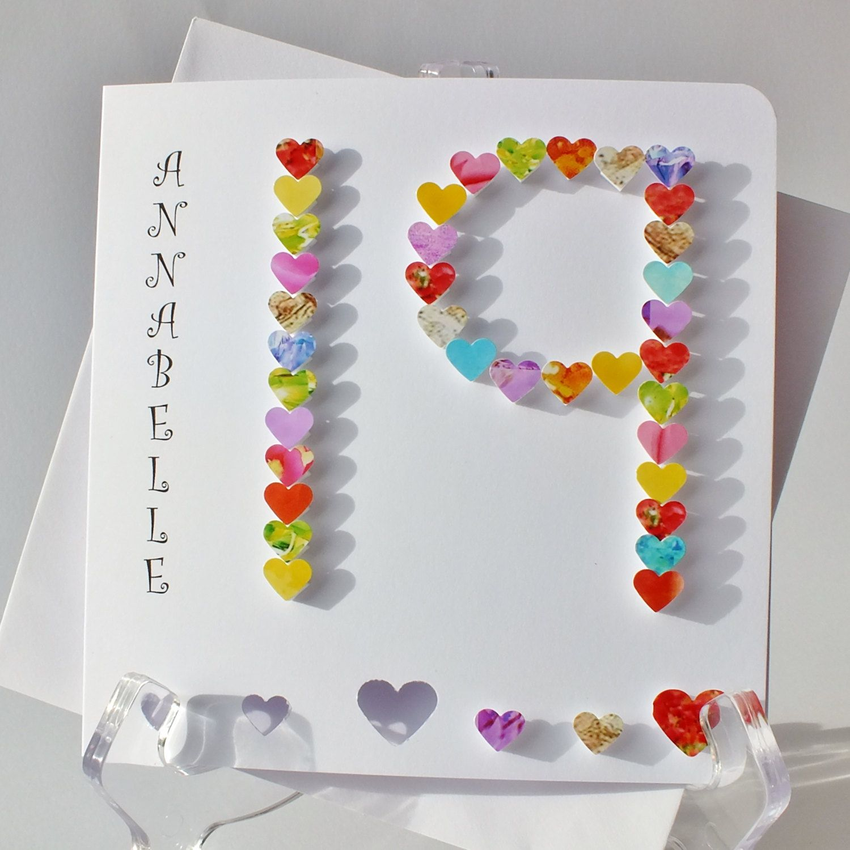 Handmade 3D 19th Birthday Card, Personalised 19th Birthday