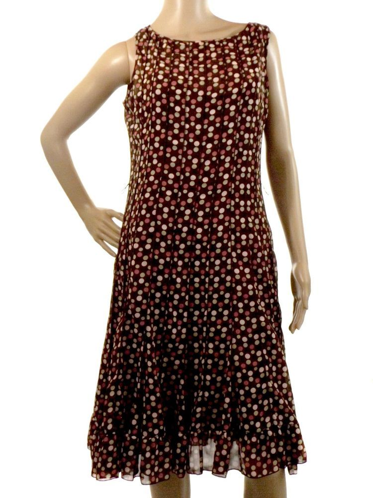 Sandra Darren Size 8 Sleeveless Brown Polka Dot Sheer Lined Dress Knee Length #SandraDarren #Shift #Casual