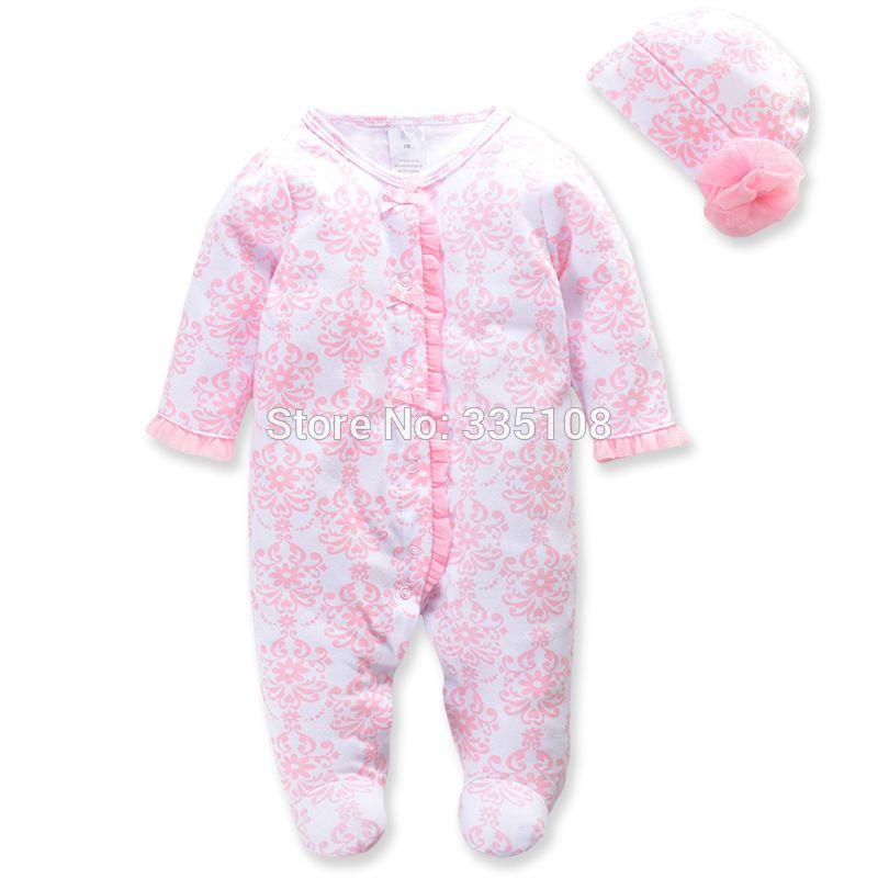 الأميرة الوليد طفلة ملابس الرضع الجسم الدعاوى الزهور رومبير وهات الطفل بذلة لربيع الفتيات الملابس مجموعة كاملة