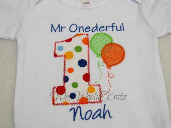 Boys 1st Birthday T Shirt Bib Personalized Embroidered Applique First Girls