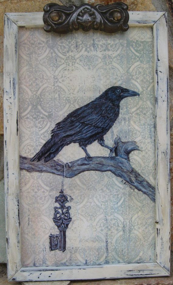 crow vintage crow painting framed crow print raven halloween decorationvintage home decor black and white shabby white 8 x 13 12 - Raven Halloween Decorations