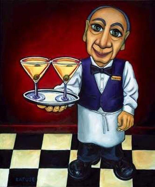 Frameless Modern Cartoon Chefs Canvas Prints Restaurant: Alberto By Artist Will Rafuse - Waiter, Martinis
