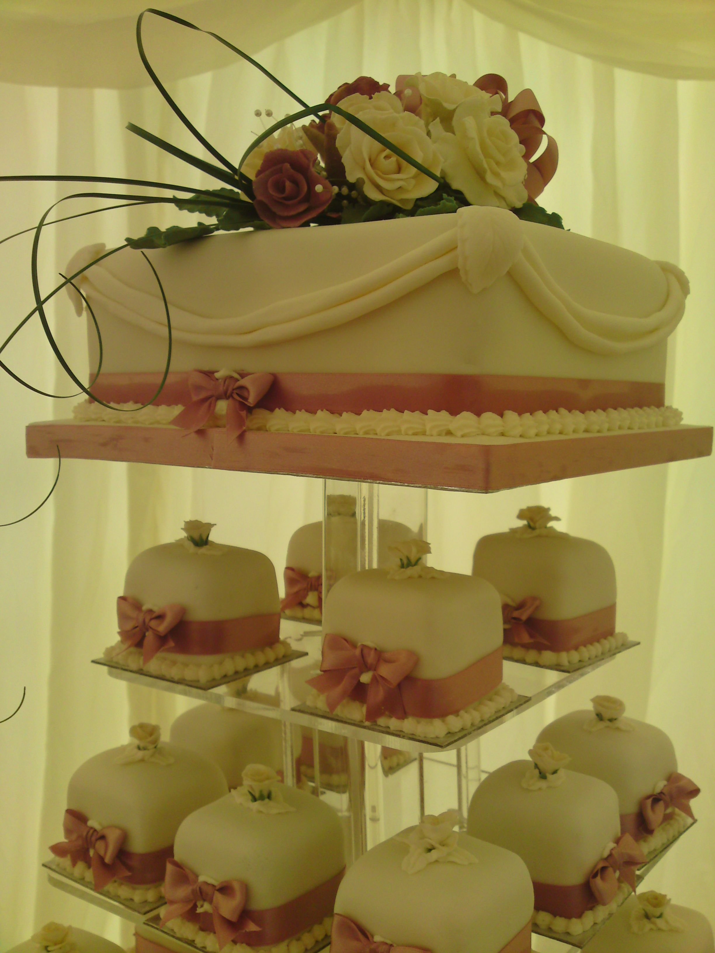 Close up of a typical top cake for the Mini Wedding Cake tower d ...
