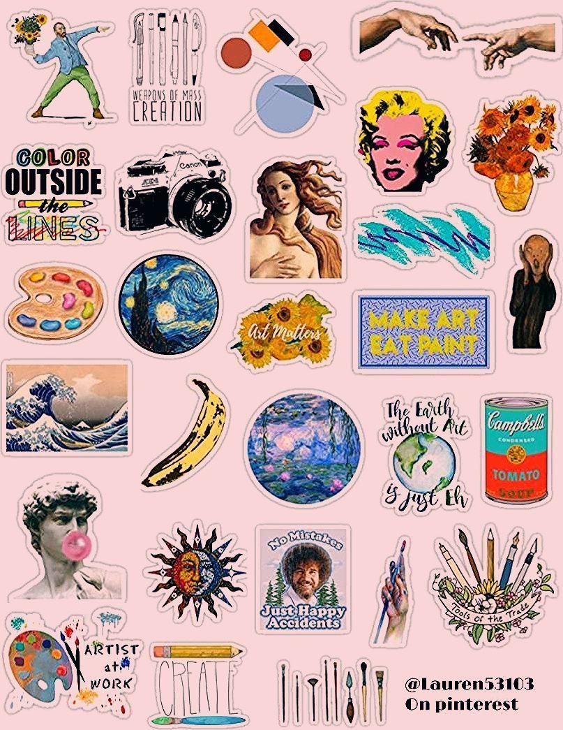 Kunst Sticker Pack Kunst Sticker Kunstler Malerei Zeichnung Bilder Bilder Beruhmte Kunst Artforelementar Beruhmte Kunst Kunstler Malerei Vintage Sticker