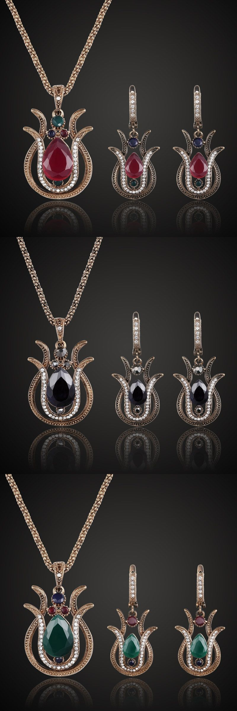 Supper turkish vintage jewelry sets fine women resin necklace