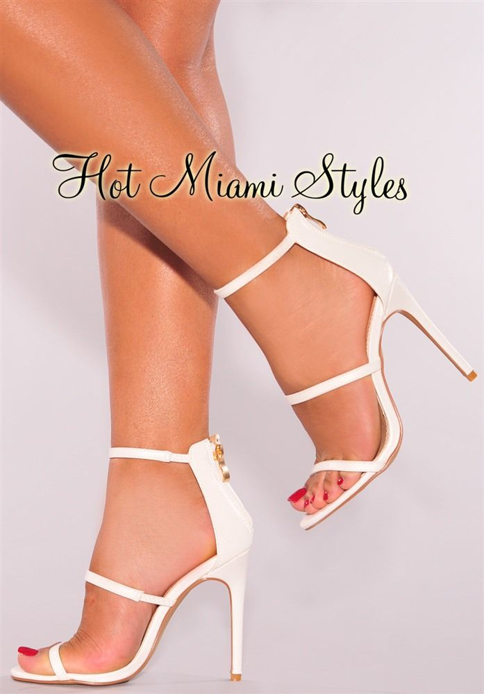3d8264b5528 White Faux Leather High Heel Sandals