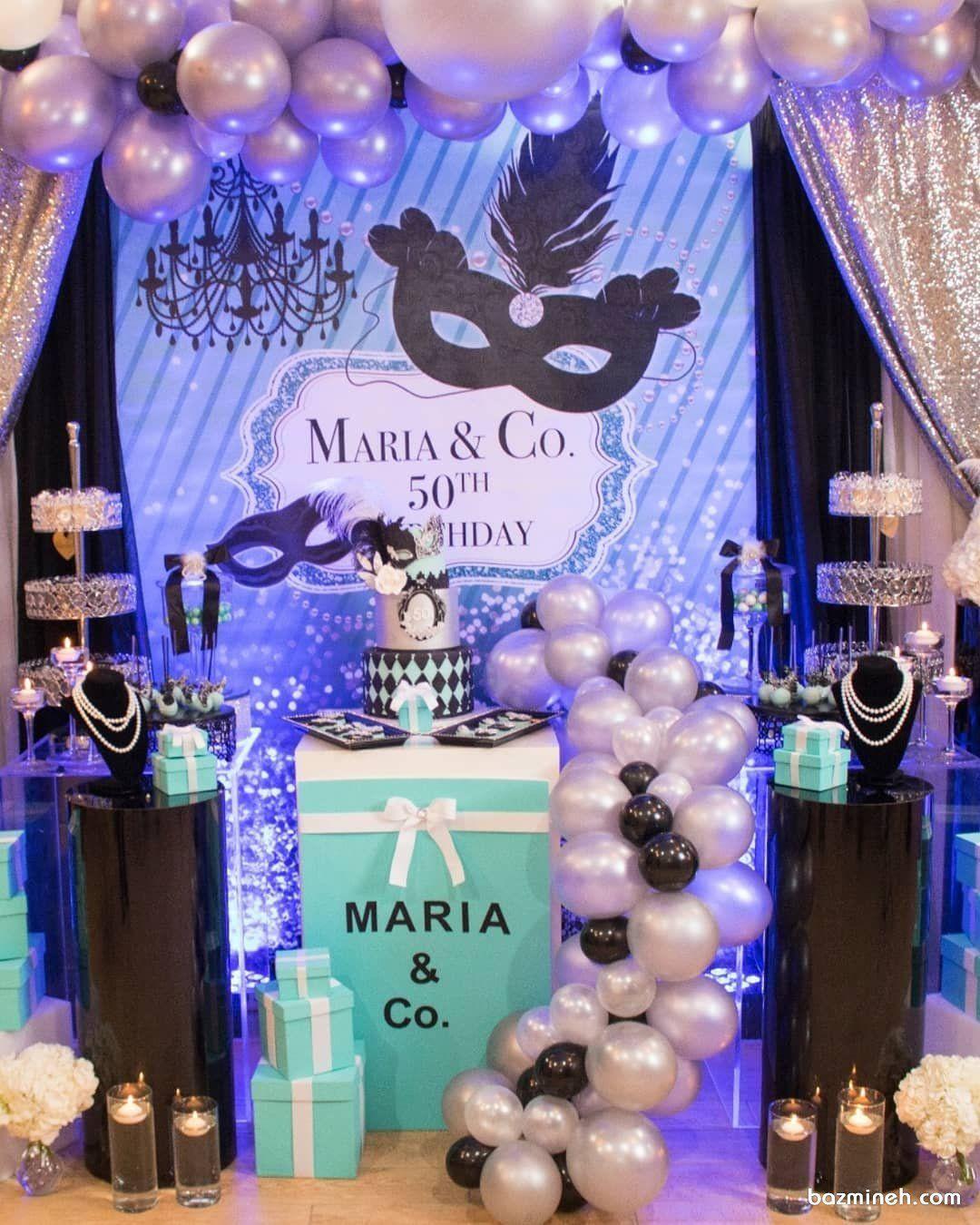 دکوراسیون و بادکنک آرایی جشن تولد بزرگسال با تم بالماسکه Opulent Treasures Masquerade Party Opulence