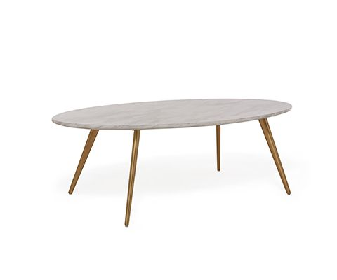 Buy Aerius Oval Faux Marble Coffee Table With Brass Legs David - Marble coffee table with brass legs