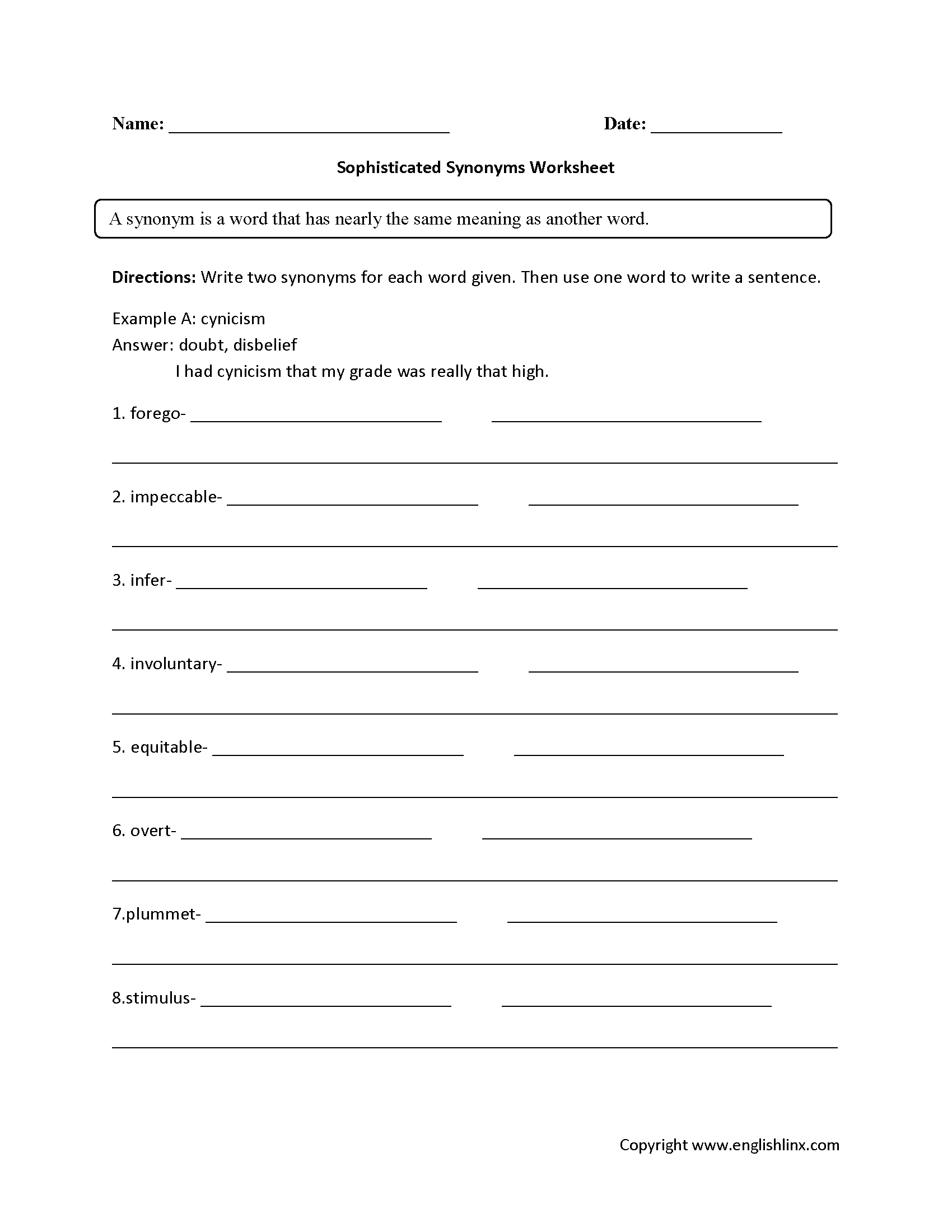 Sophisticated Synonyms Worksheets   Synonym worksheet [ 2200 x 1700 Pixel ]