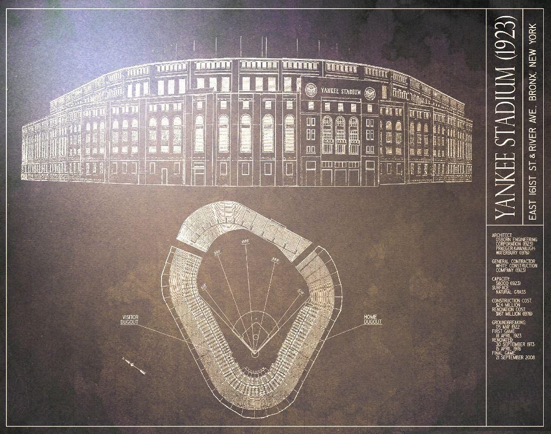 1923 yankee stadium blueprint vintage baseball poster 1923 yankee stadium blueprint vintage baseball poster malvernweather Choice Image