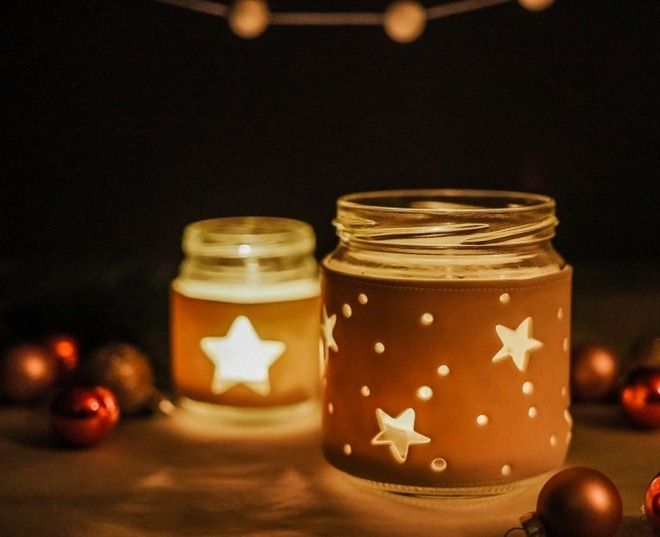 Candle Jar Decorating Ideas Alluring Fimo Sleeve On Glass Candle Holder Glowing In The Dark  Christmas Design Inspiration
