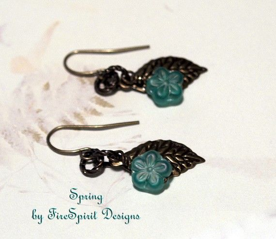 Spring handmade artisan earrings by FireSpiritDesigns on Etsy, $13.00