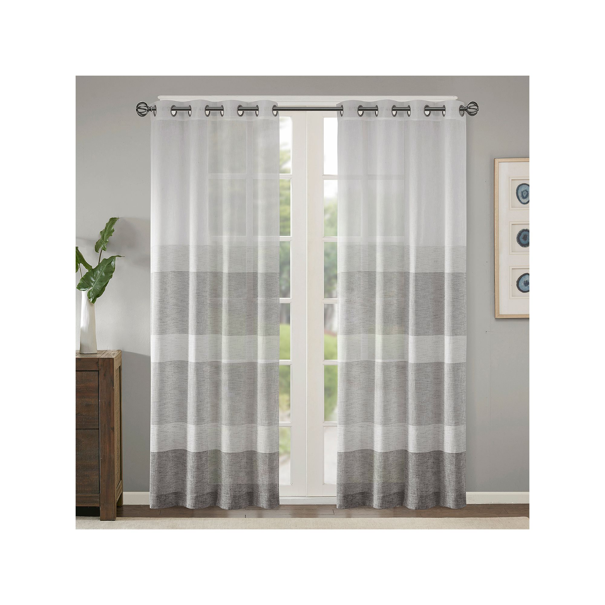 Madison Park 1-Panel Jasper Woven Striped Sheer Window
