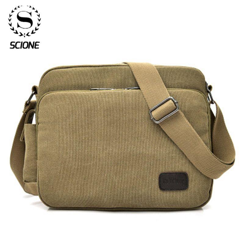 Men Canvas Multifunction Vintage Messenger Shoulder Bag Korean Trend Simple Pack For Men Women Office Outdo Shoulder Bag Men Casual Bags Shoulder Messenger Bag