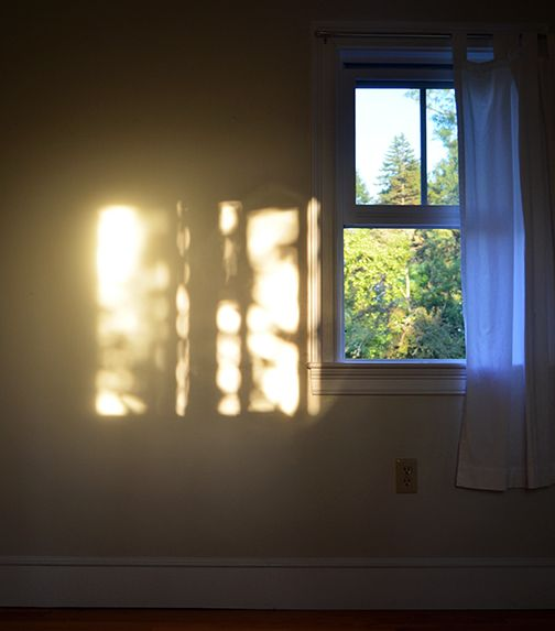 Open Window At Dusk: Waking Up Surround By Light,a Halo Of Beauty Wrapped