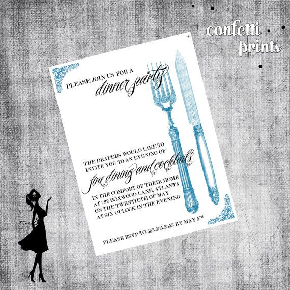 Dinner Party Invitation VINTAGE Printable by ConfettiPrintsShop - Free Printable Dinner Party Invitations