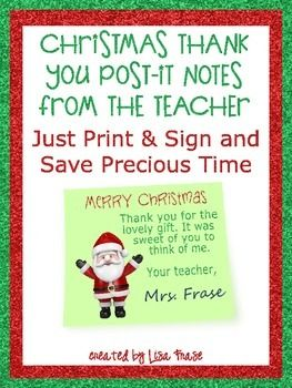 Christmas Thank You Printable PostIt Notes From The Teacher