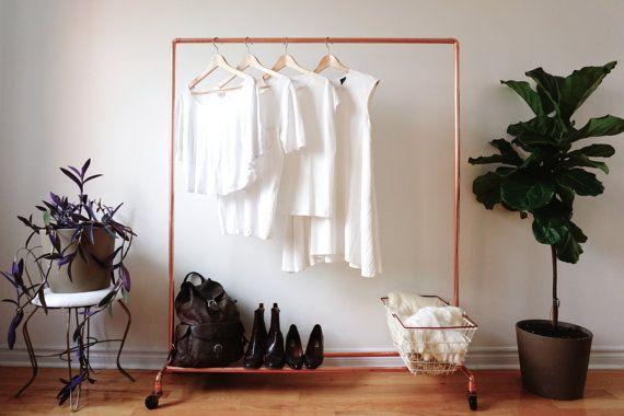 Rolling Copper Pipe Clothing Rack / Garment Rack on Wheels - 4' Long