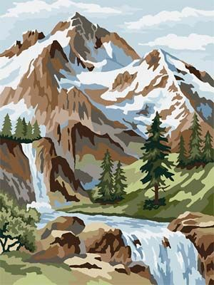 Mountain Scene PBN Teen/Adult 12+ (cft23005) Craft-House Paint By Number Kits