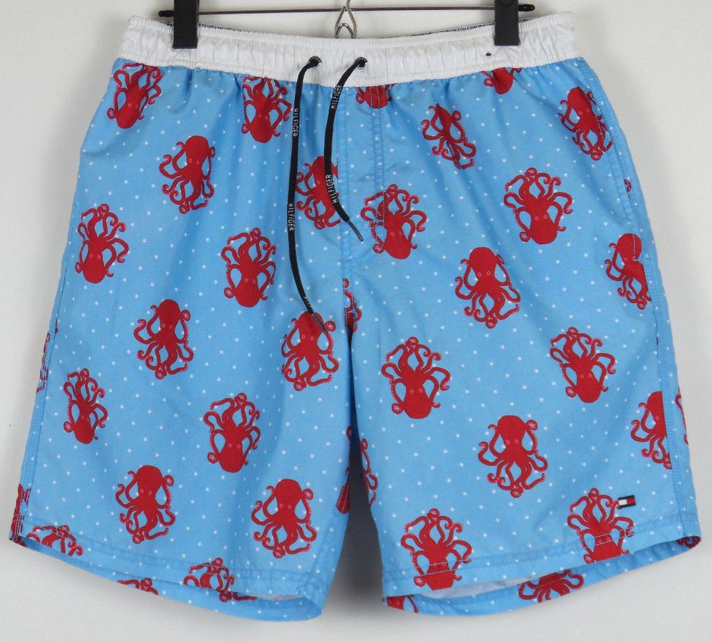 Tommy Hilfiger Polka Dot Octopus Swimming Trunks Mens Medium M New York City #TommyHilfiger #Trunks