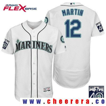 Men's Seattle Mariners #12 Leonys Martin Cream 40TH Patch Stitched MLB Majestic Flex Base Jersey