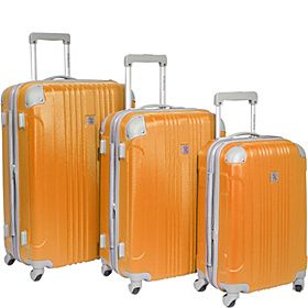 Malibu 3 Piece Hardside Spinner Luggage Set Orange- I could tag some paws, palmettos and crescents on this bad boy...
