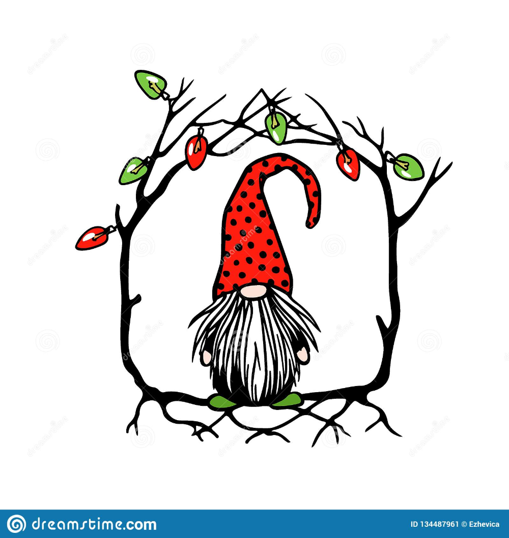 Hand drawn Christmas gnome stock vector. Illustration of
